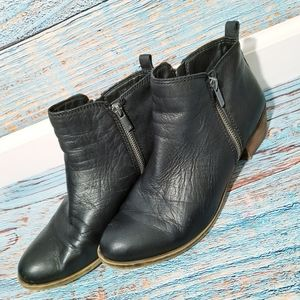 Lucky Brand Basel Zipper Side Black Booties 9.5M